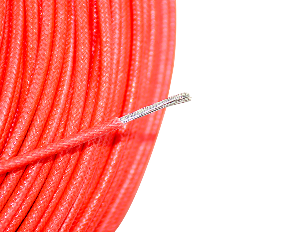 UL3122 Silicone Rubber Fiberglass Insulated Braided Wire 300V 17 Gauge 1